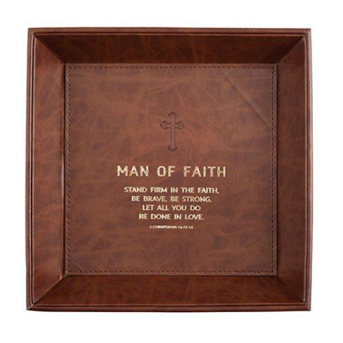 Man of Faith – I Corinthians 16:13 – 8.5″ x 8.5″ Tabletop Tray