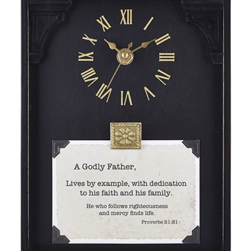 A Godly Father – Proverbs 21:21 7″x9″ Framed Tabletop Clock