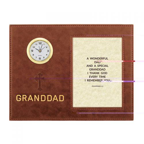 Granddad – Philippians 1:3 – 9″ x 7″ Framed Table Clock