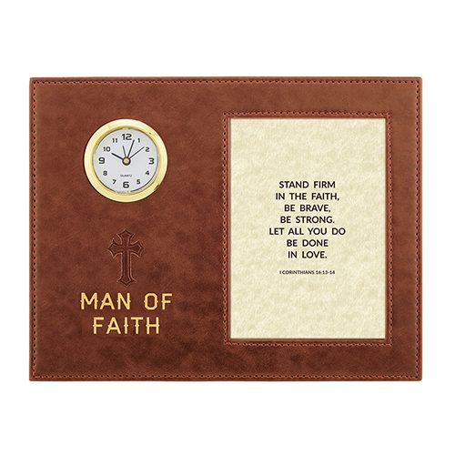 Man Of Faith – I Corinthians 16:13-14 – 9″ x 7″ Framed Table Clock