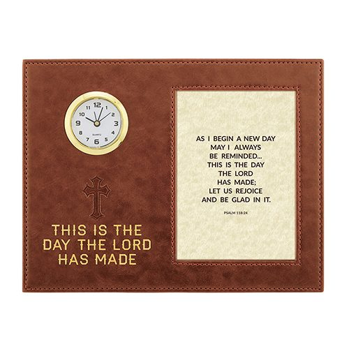 This Is The Day – Psalm 118:24 – 9″ x 7″ Framed Table Clock