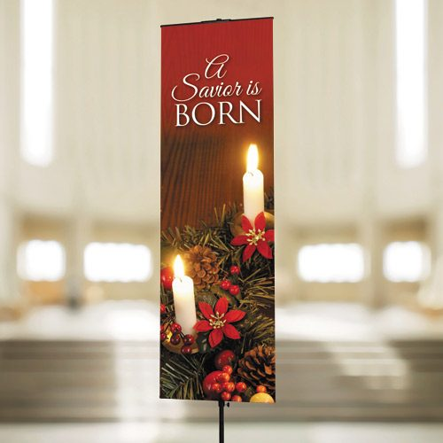 A Savior is Born – Banner with Wreath