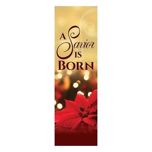 A Savior is Born – Banner with Poinsettia